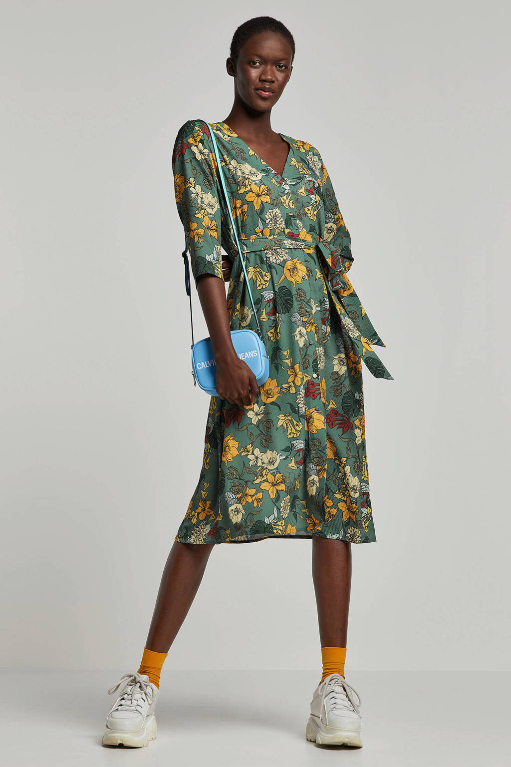A-lijn jurk met bloemenprint, Mintgroen/oker