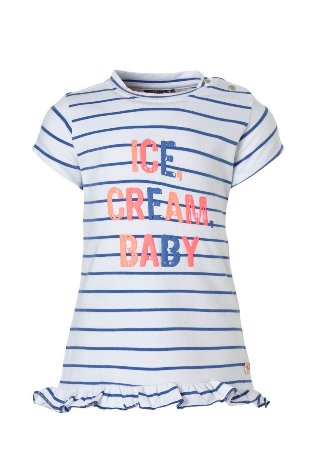 Babyface gestreepte jurk met tekst wit/blauw, Wit/blauw