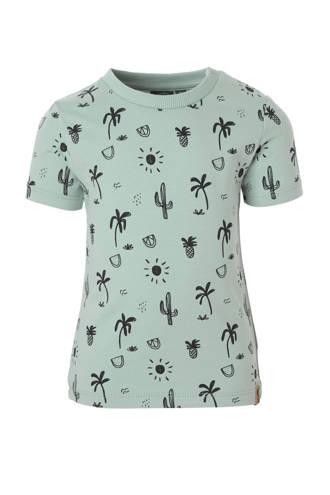 T-shirt met alloverprint groen