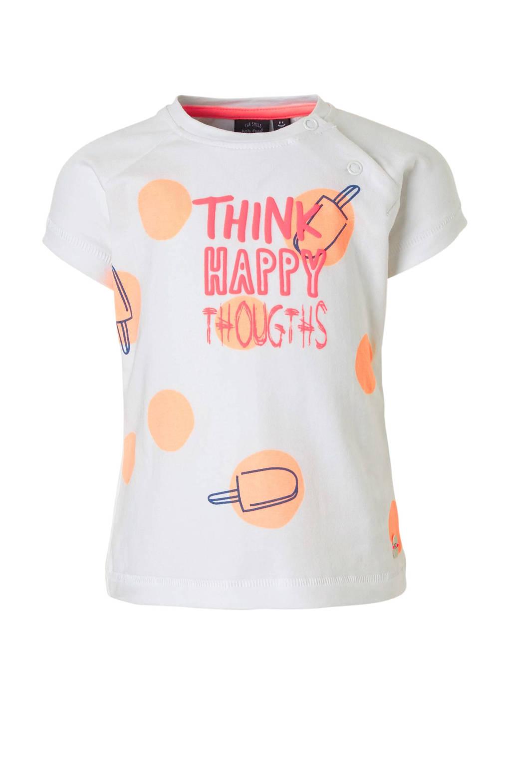 Babyface T-shirt met print wit, Wit/roze