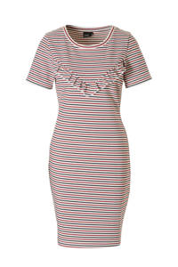 whkmp's own jurk met streepdessin, Ecru/rood/zwart