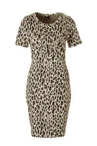 whkmp's own jersey jurk met panterprint en ruches beige/bruin, Beige/bruin