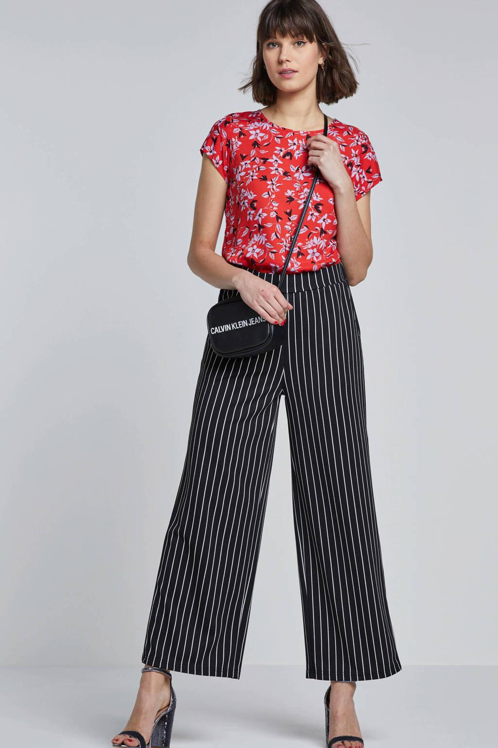 OBJECT gestreepte broek, Zwart/wit