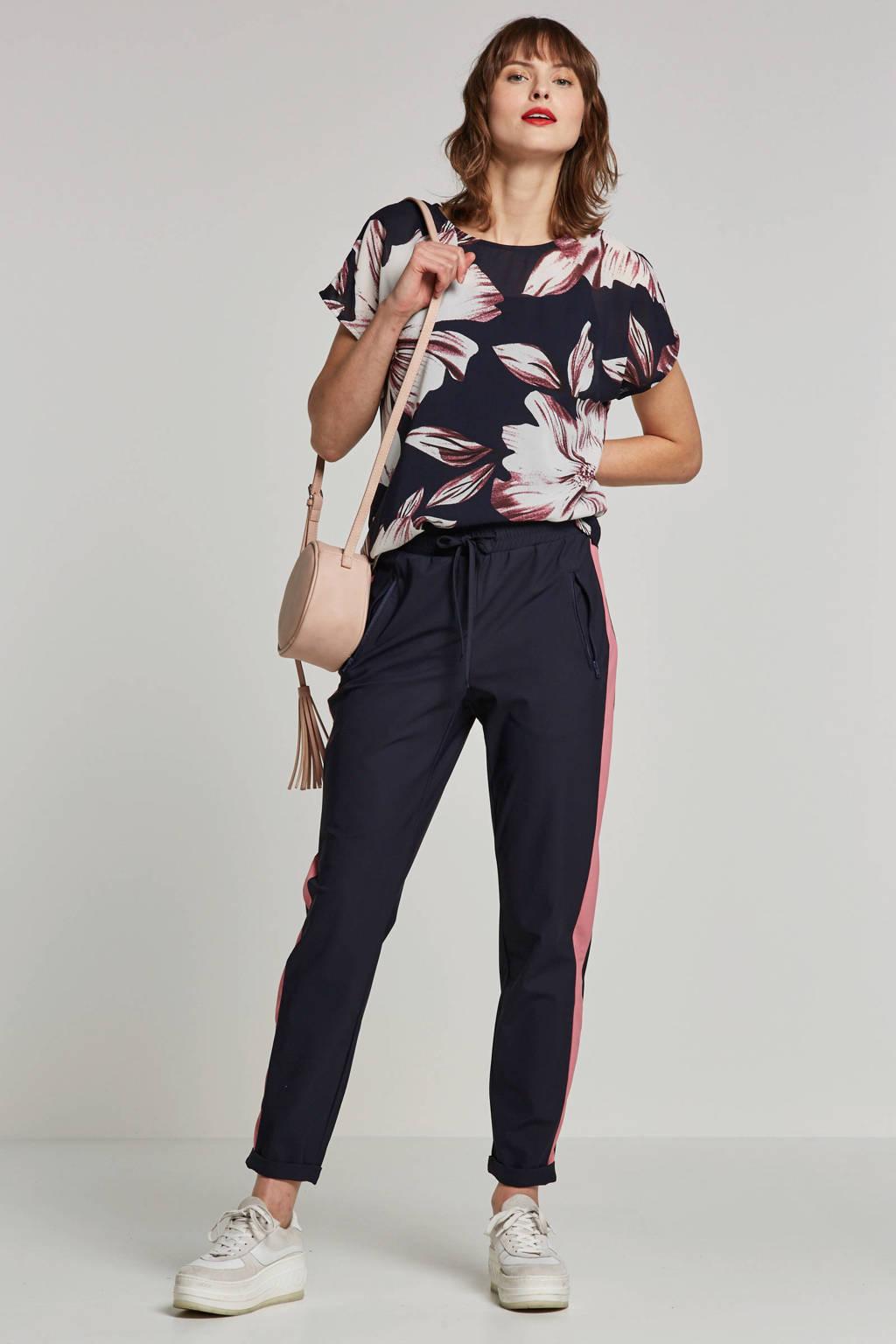 OBJECT top met bloemen, Donkerblauw/ wit/ roze