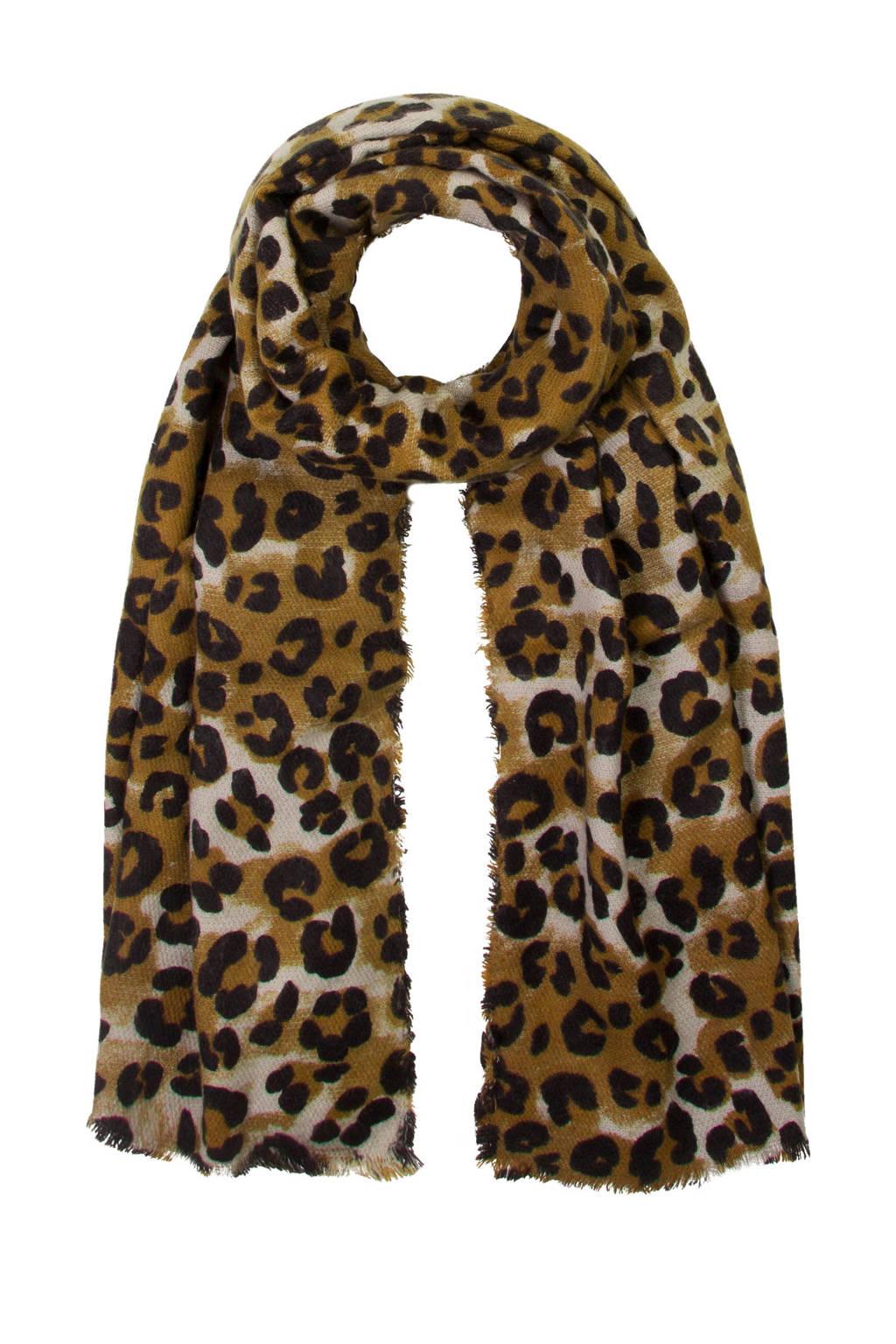 Miss Etam Accessoires sjaal met panterprint zwart, Zwart
