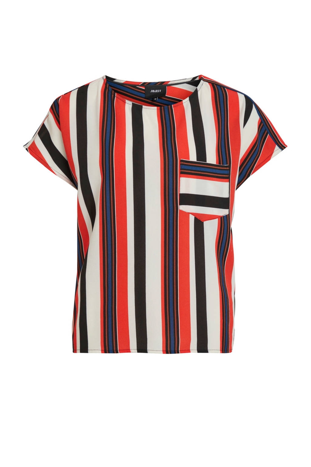 OBJECT gestreepte top rood, Rood
