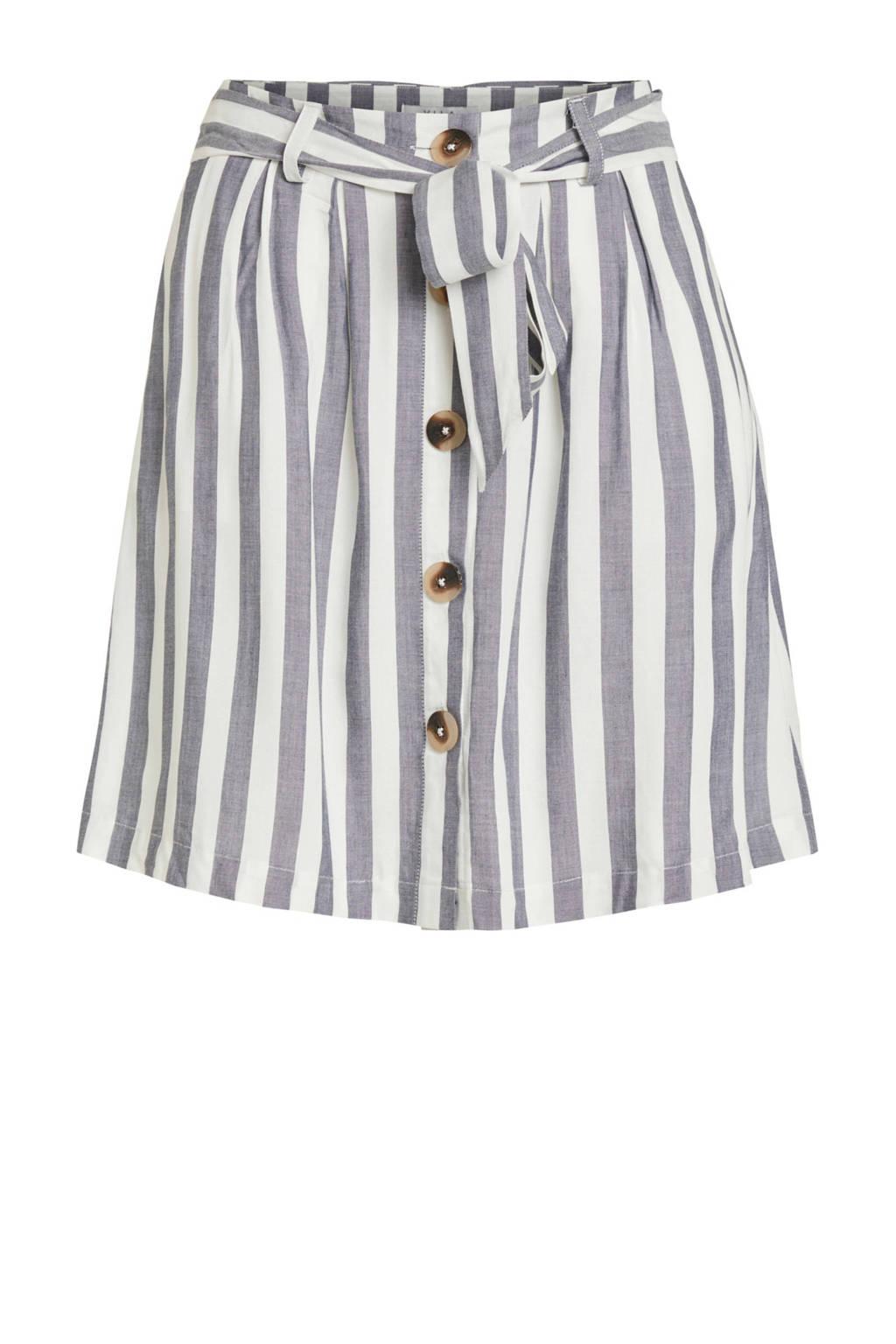 VILA gestreepte zomerse rok met strikceintuur, Wit/roze