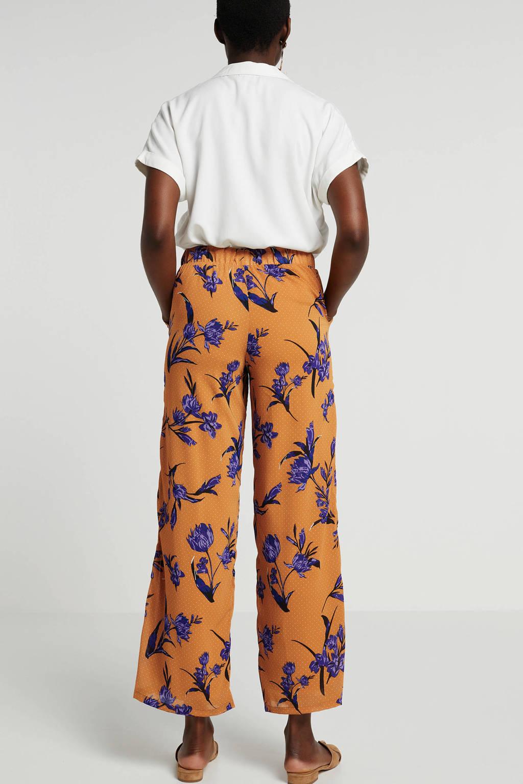 Pieces loose fit broek met bloemen oker, Oker/paars/zwart/groen