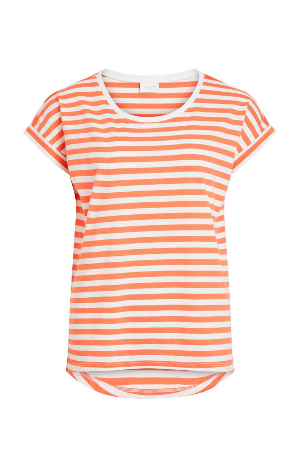 VILA gestreept T-shirt oranje, Oranje/wit