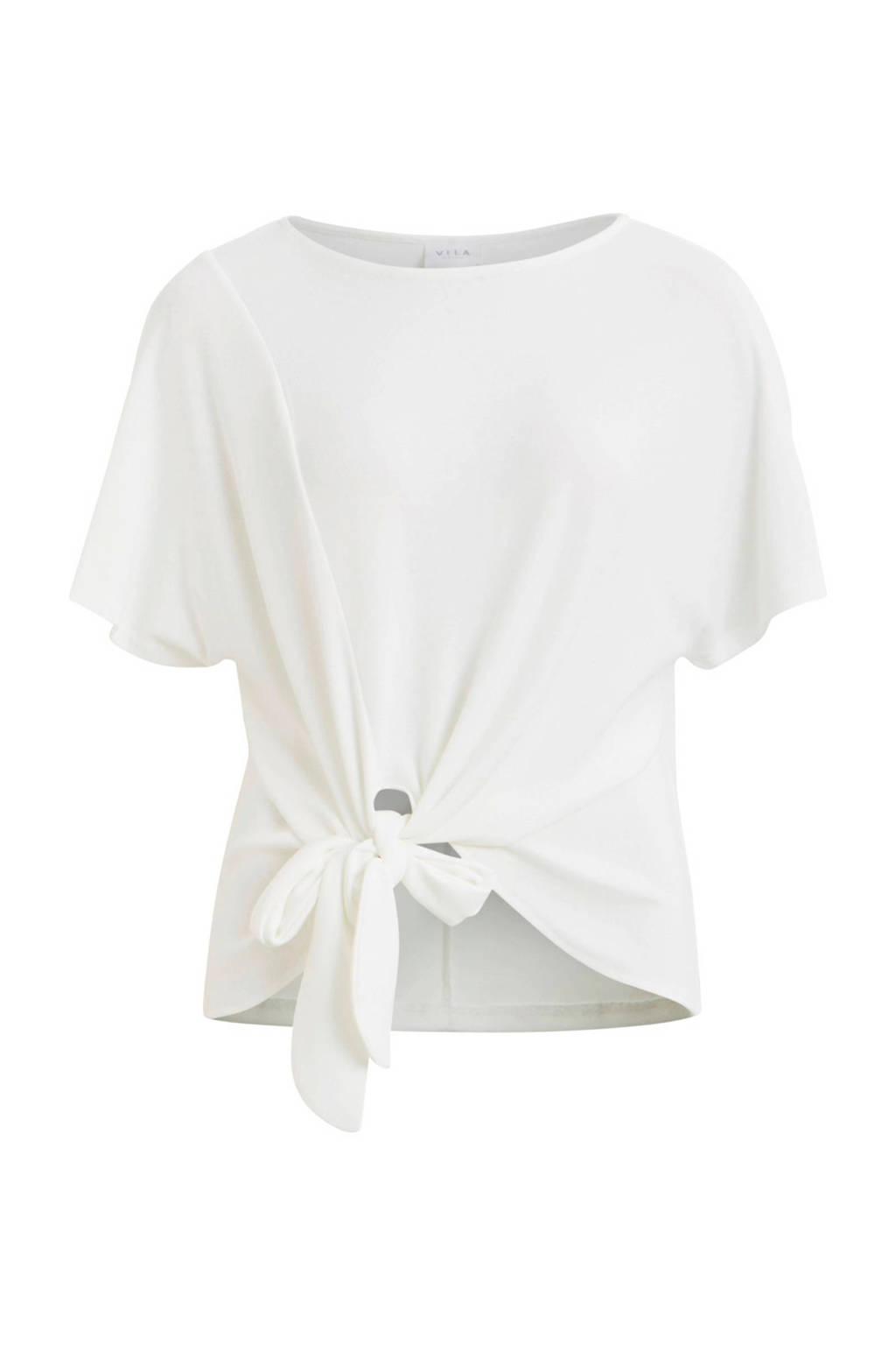 VILA top met strikdetail wit, Wit