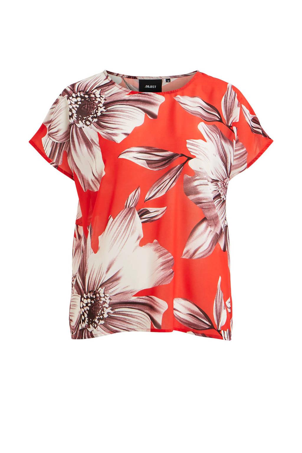 OBJECT gebloemde T-shirt, Rood/wit