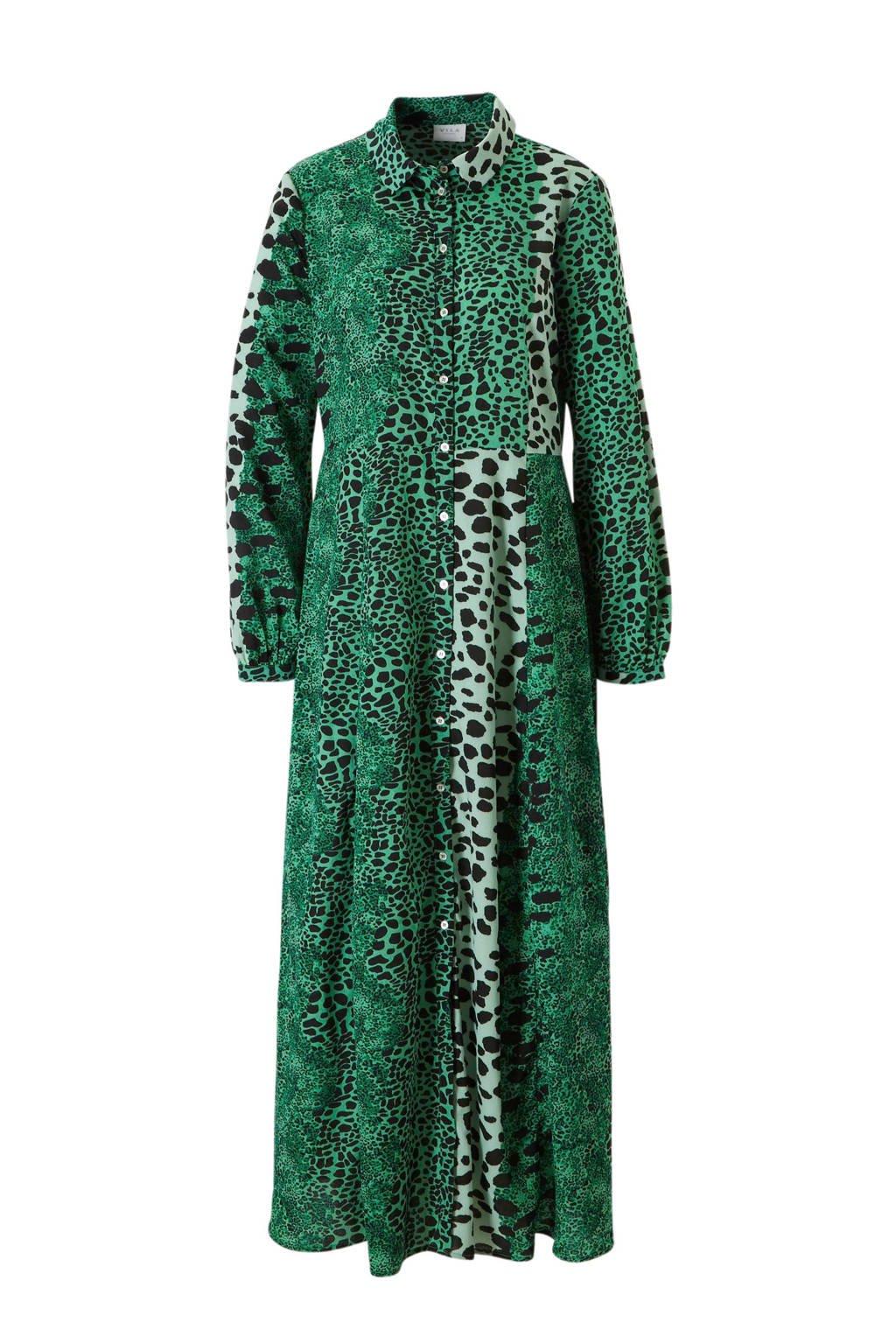 beste groothandel goedkoper gedetailleerde foto's blousejurk met panterprint groen/zwart