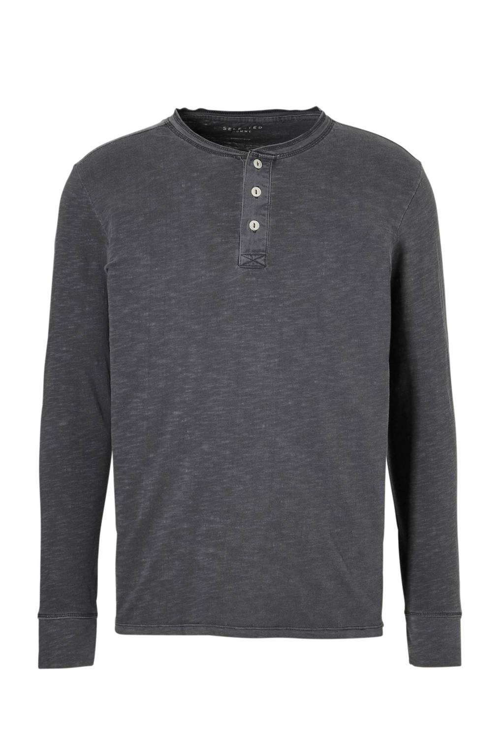 SELECTED HOMME T-shirt lange mouw, Grijs melange