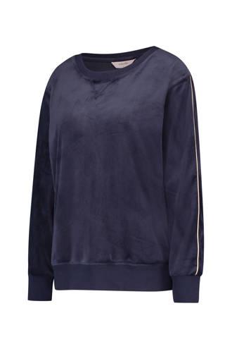 fluwelen sweater met zijstreep blauw