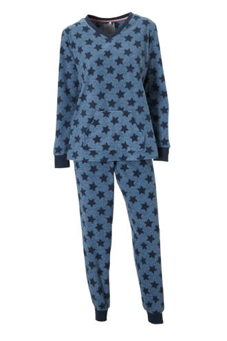 fleece pyjama blauw/ster