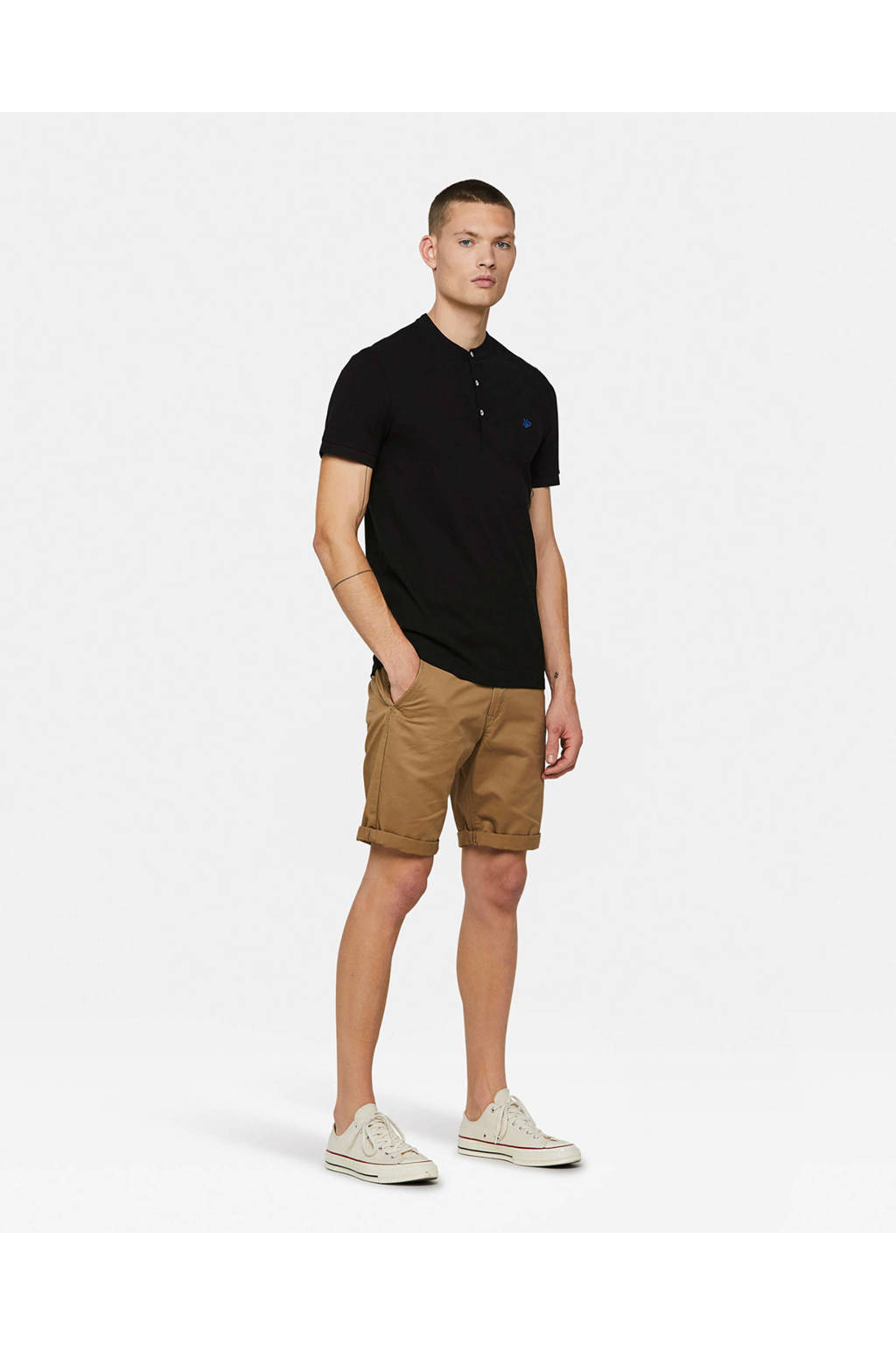 WE Fashion slim fit polo, Zwart