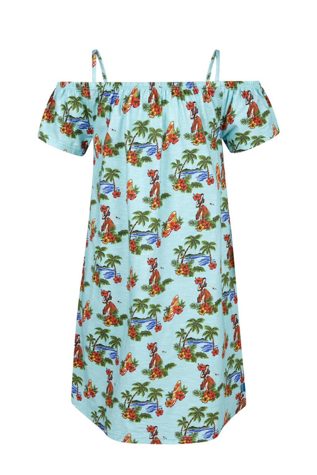 WE Fashion gebloemde off shoulder jurk Hawai lichtgroen, Lichtgroen