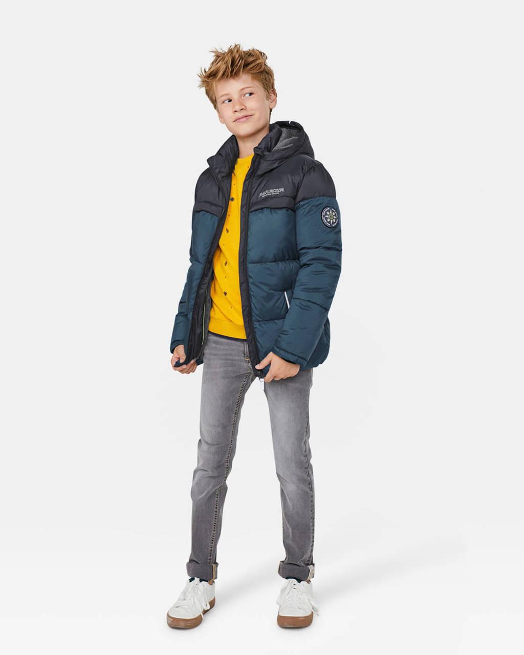 WE Fashion winterjas blauw/donkerblauw, Blauw/donkerblauw