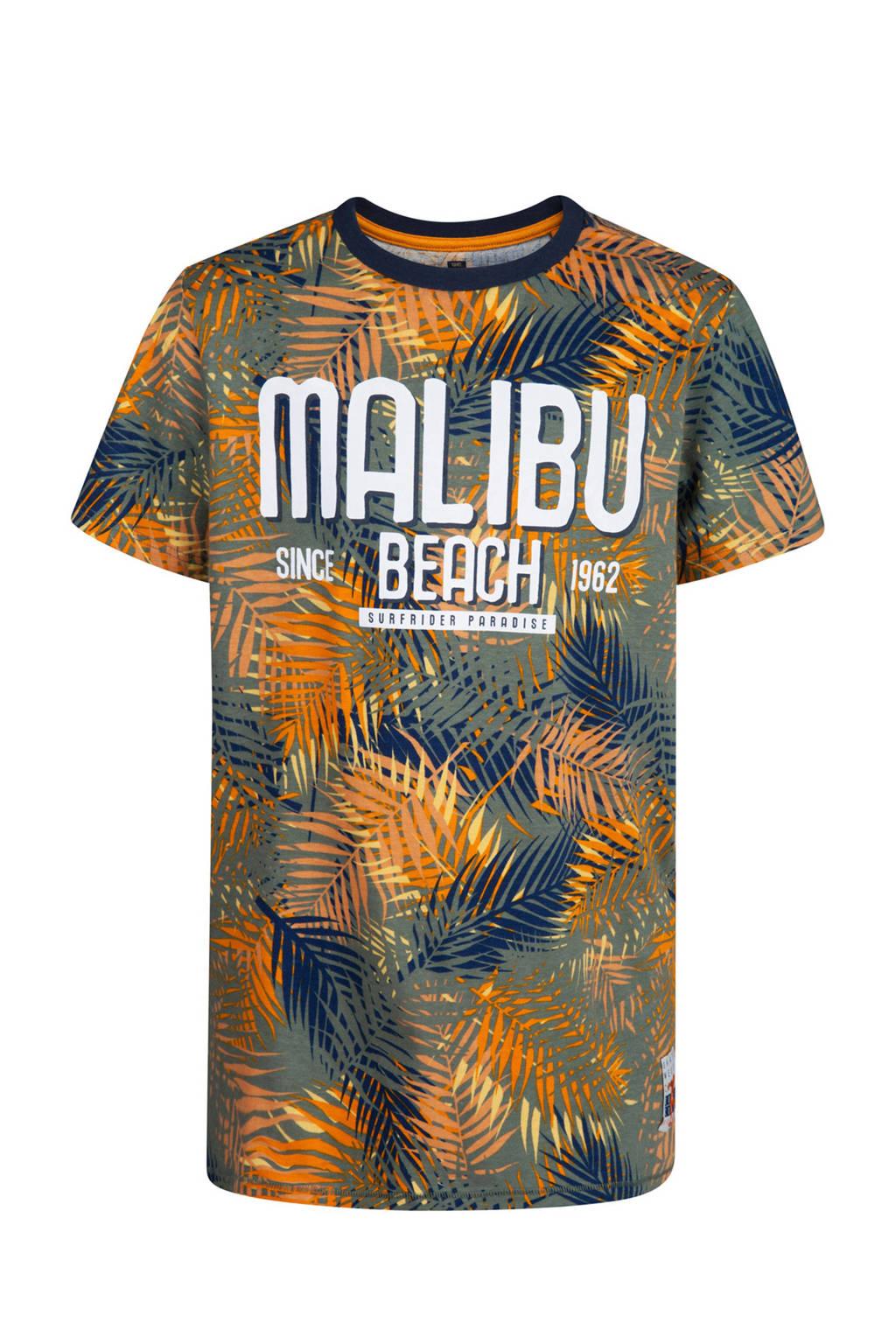 WE Fashion T-shirt met bladprint oker, Oker/grijsgroen/blauw