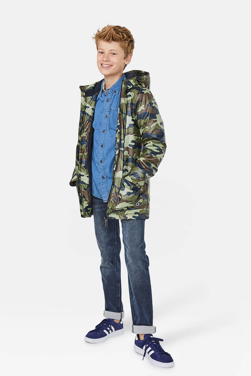 WE Fashion winterjas met camouflageprint groen/bruin/zwart, Groen/bruin/zwart