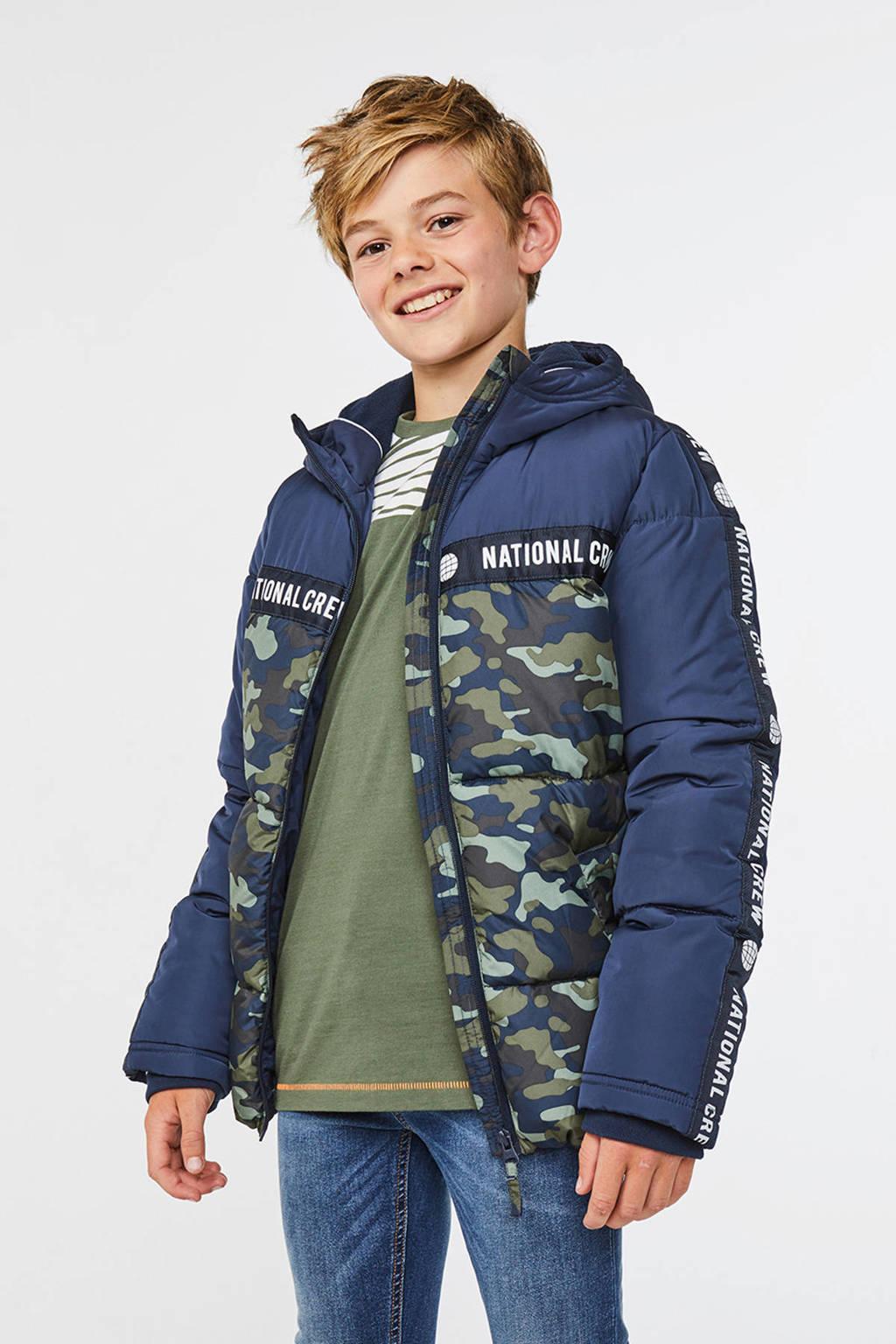 WE Fashion winterjas met contrastbies donkerblauw/kaki, Donkerblauw/kaki