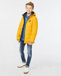 WE Fashion reversible winterjas met tekst grijs/geel, Grijs/geel