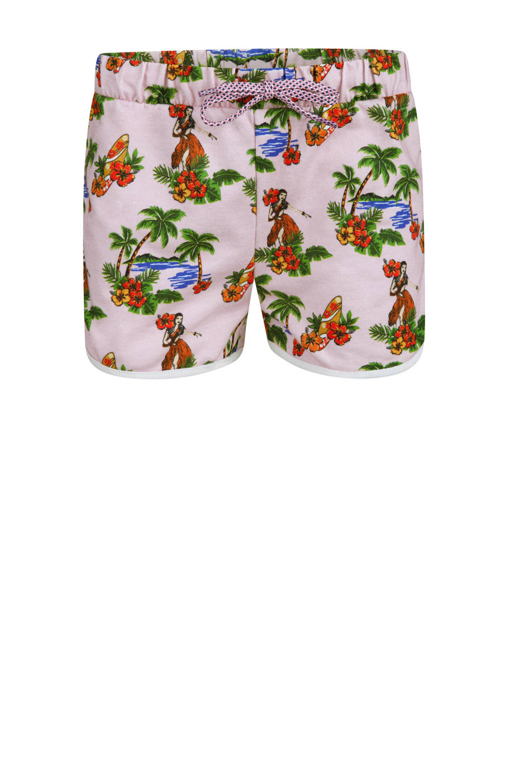 WE Fashion gebloemde sweatshort Hawai lichtroze, Lichtroze