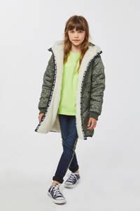 WE Fashion omkeerbare winterjas met panterprint kaki/ecru, Kaki/ecru