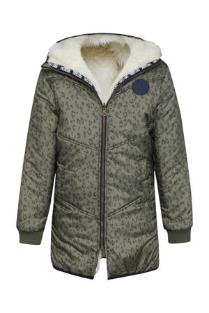 omkeerbare winterjas met panterprint kaki/ecru