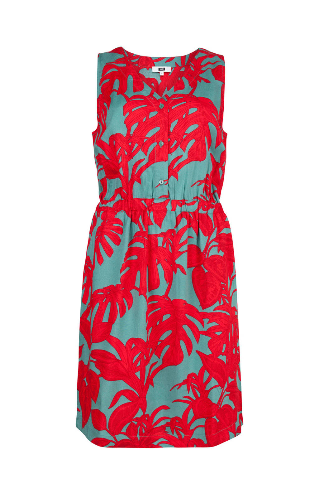 WE Fashion jurk met bladprint, Rood