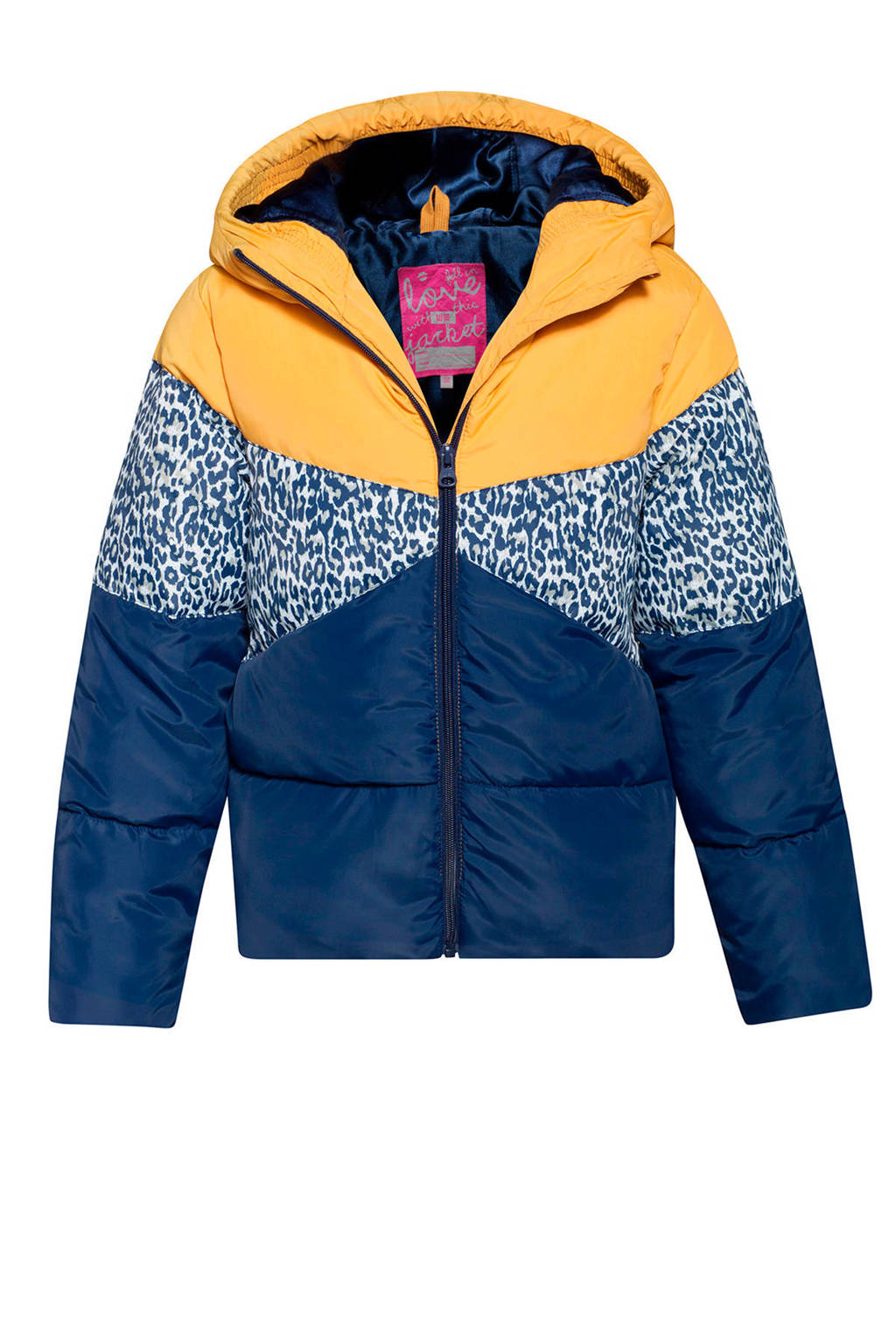 WE Fashion winterjas met capuchon donkerblauw, Donkerblauw/geel/blauw panter
