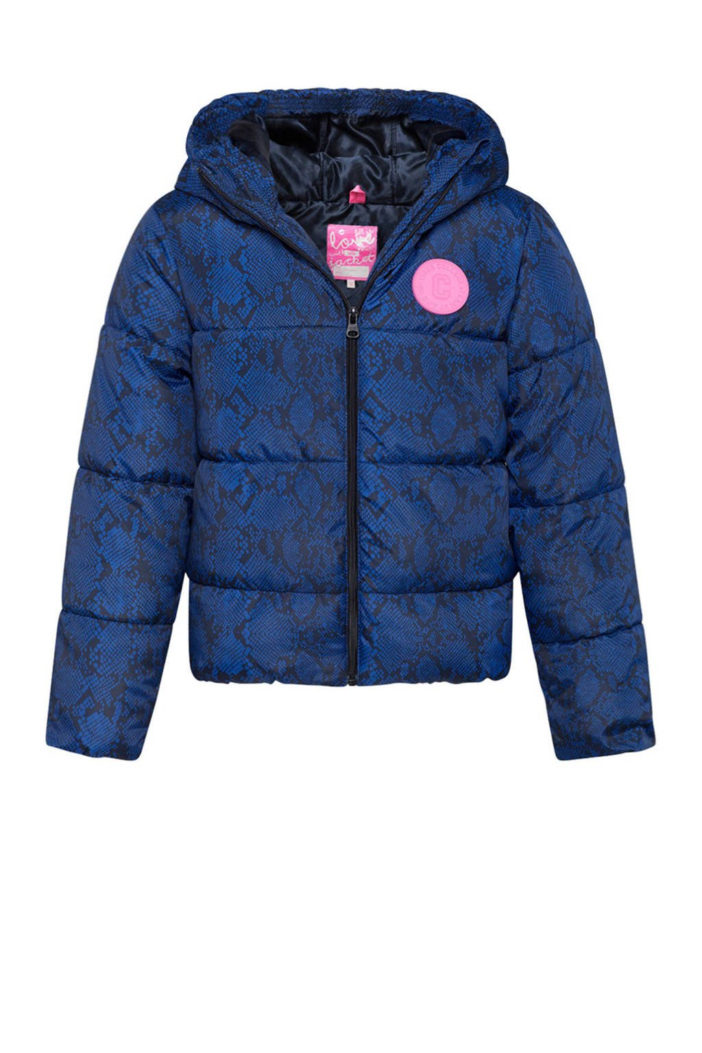 WE Fashion winterjas met slangenprint blauw, Donkerblauw