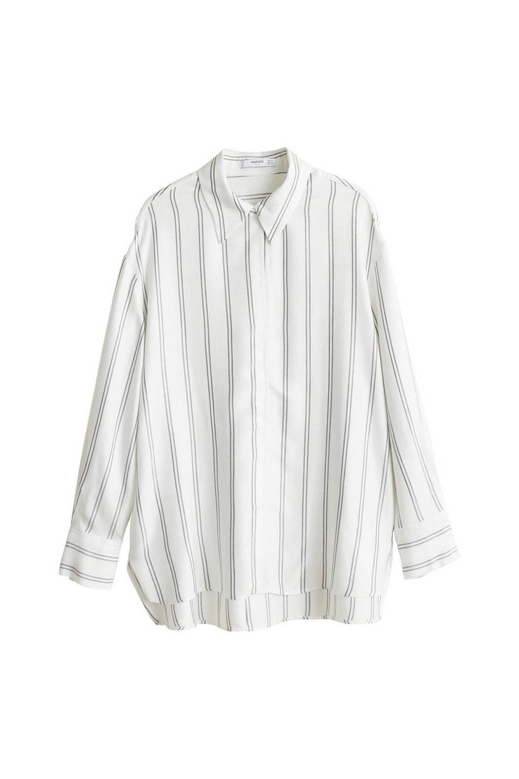Mango oversized blouse wit, Witt/ Grijs
