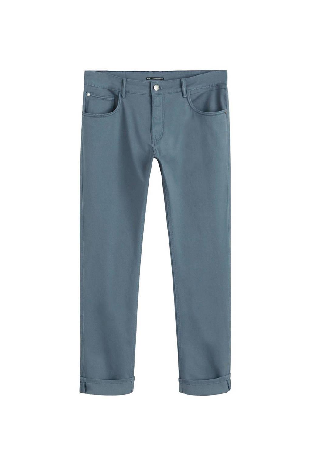 Mango Man slim fit broek blauw, Blauw