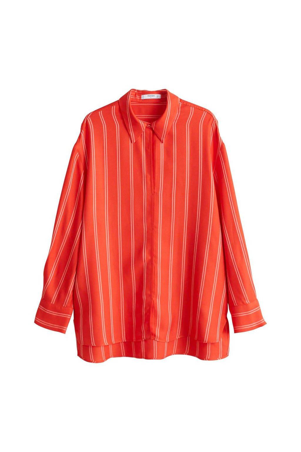 Mango oversized blouse rood, Rood/ Ecru
