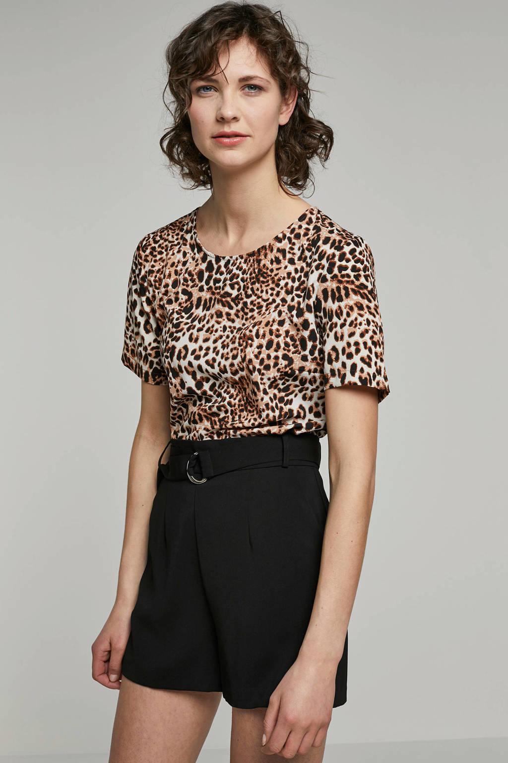 Pieces T-shirt met panterprint, Bruin/zwart