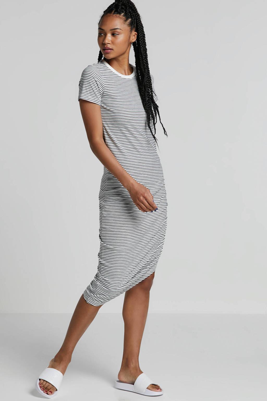Noisy may gestreepte jurk wit, Wit/zwart