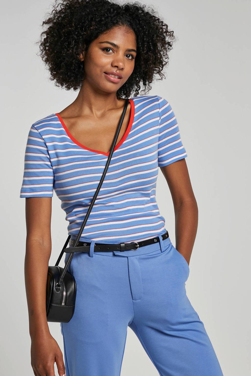 Tom Tailor gestreept T-shirt met V-hals, Blauw/rood/wit