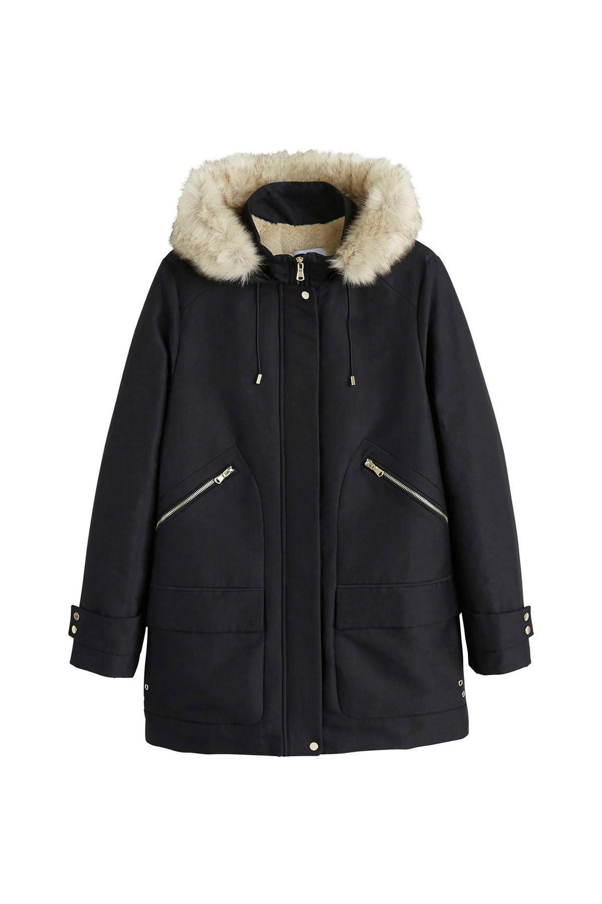 zwarte halflange jas