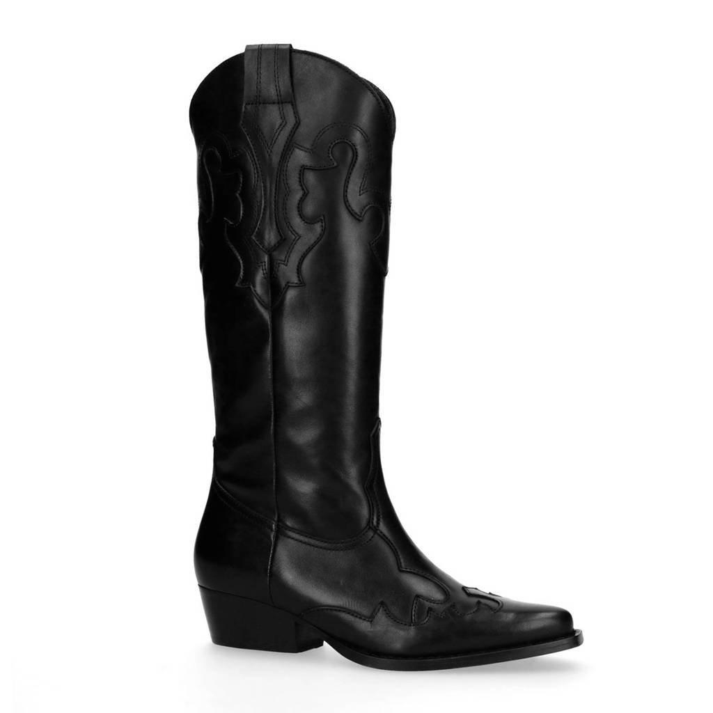 Sacha leren cowboy boots zwart, Zwart