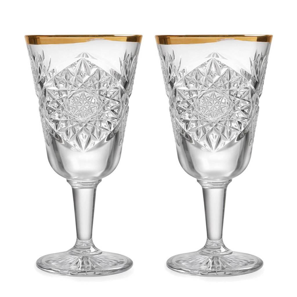 Libbey Hobstar wijnglas (Ø18,1 cm) (set van 2), transparant/goud