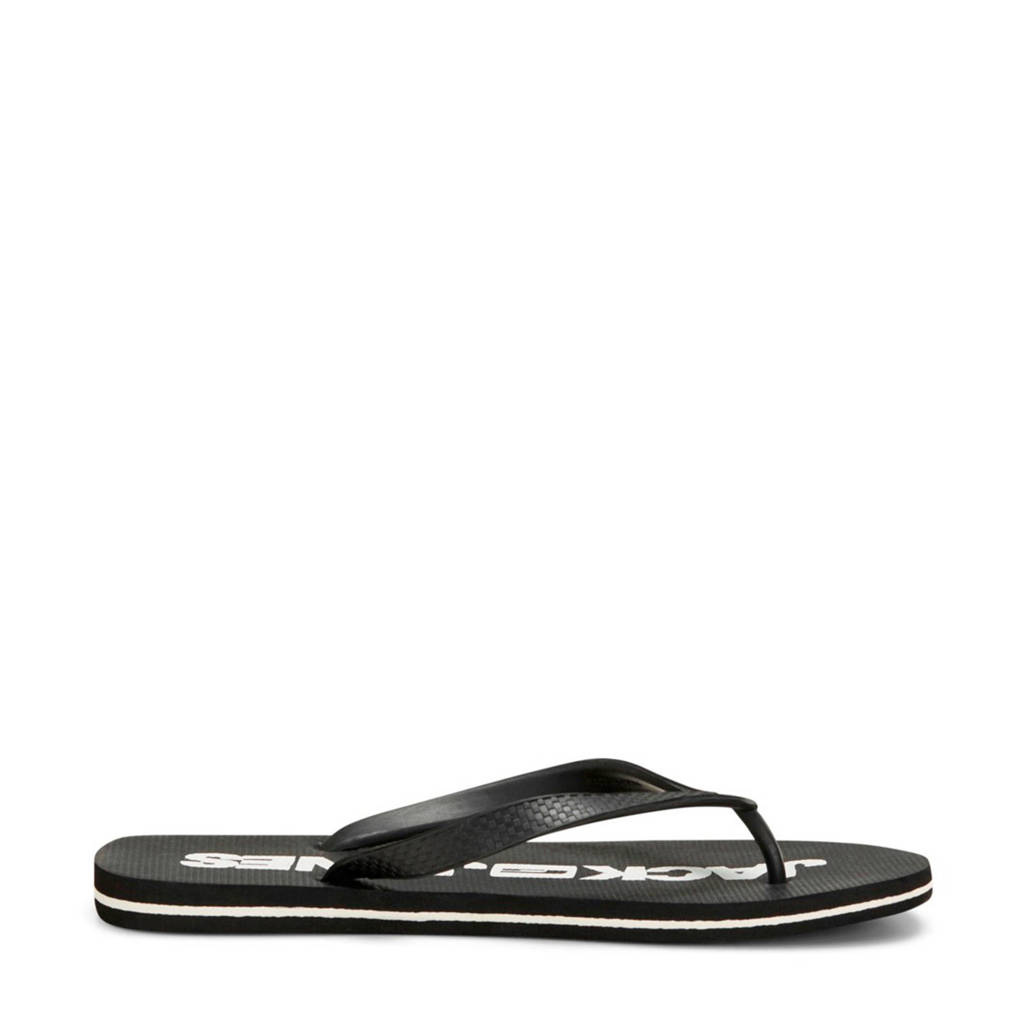 Jack & Jones teenslippers zwart, Zwart/wit