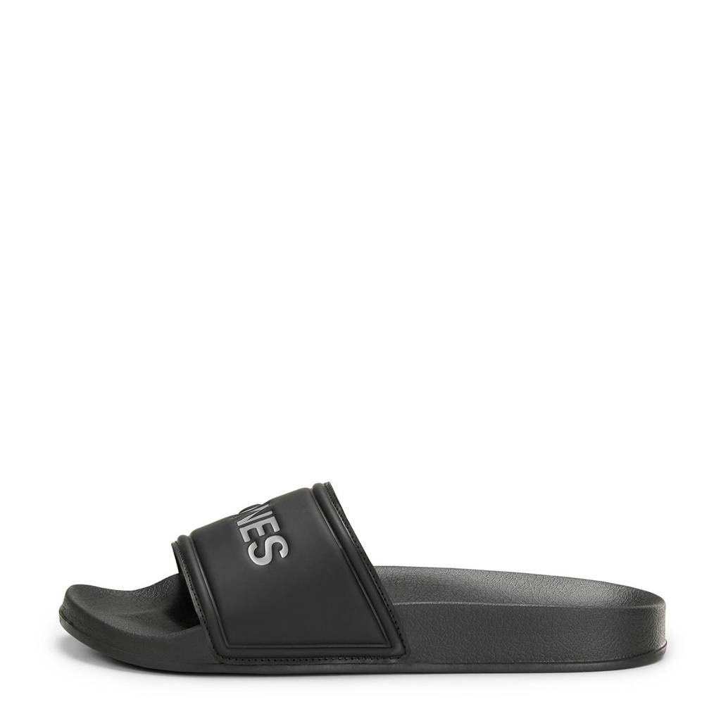 Jack & Jones   slippers zwart, Zwart/wit