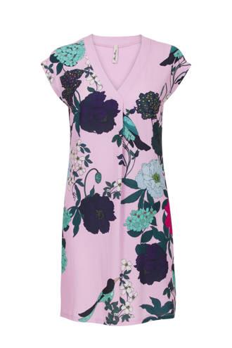Regulier gebloemde jurk paars