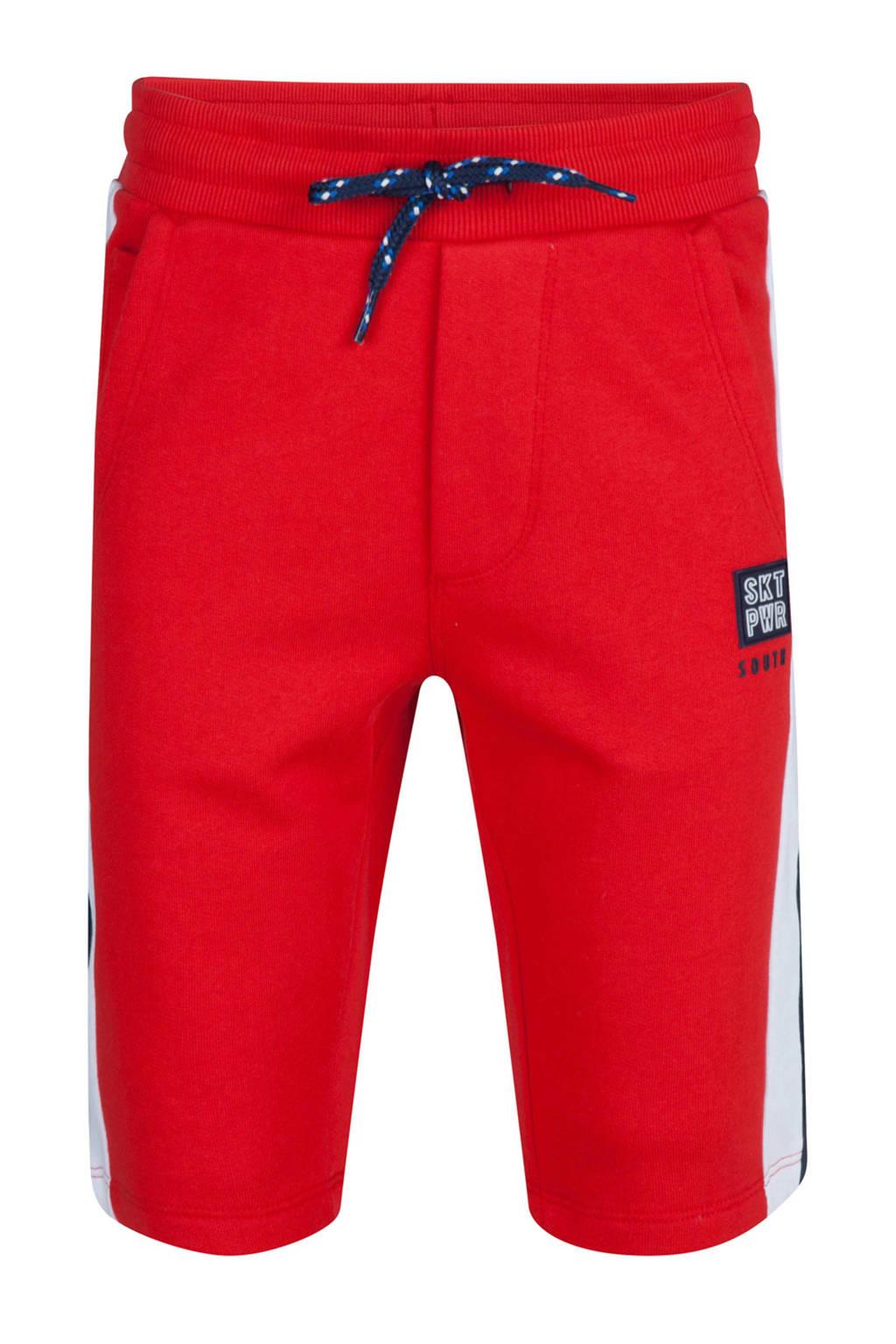 WE Fashion sweatshort met zijstreep rood, Rood