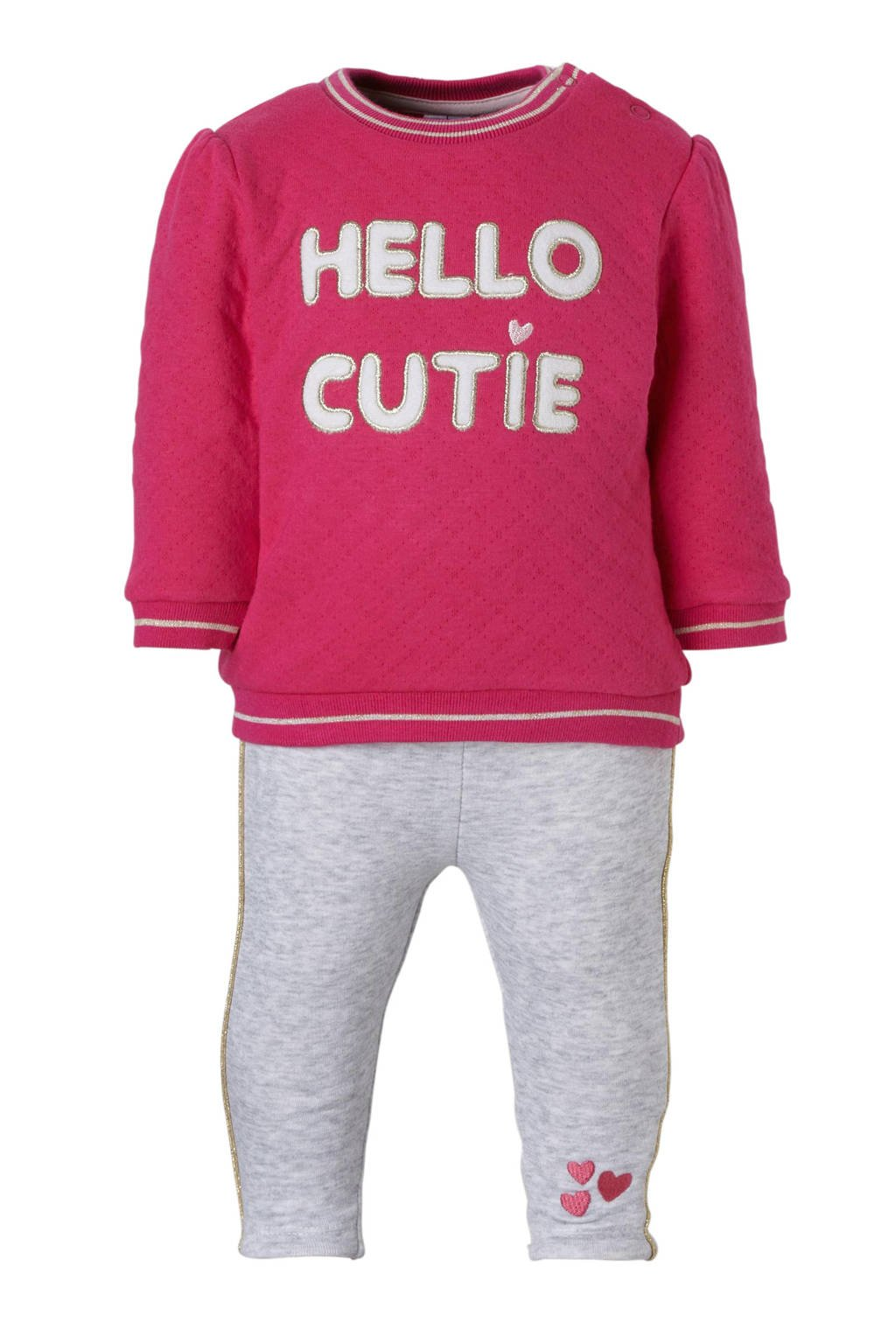 C&A Baby Club sweater + thermo legging, Roze/grijs