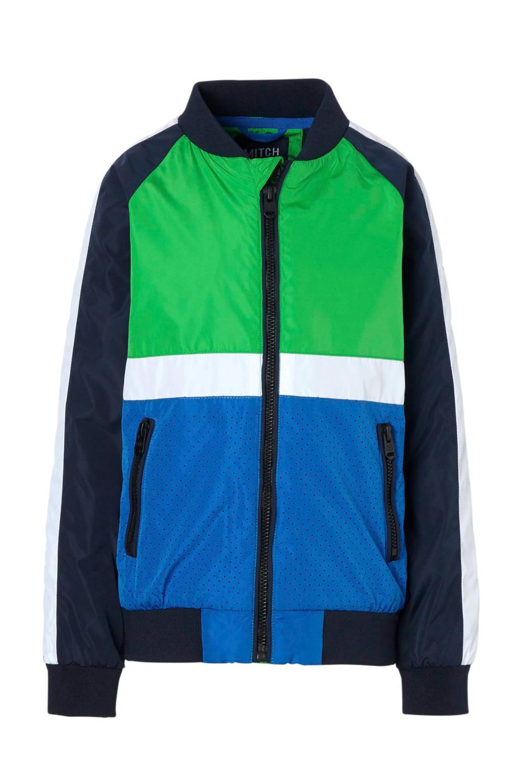 Mitch bomberjack Gommy, Donkerblauw/ blauw/ groen/ wit