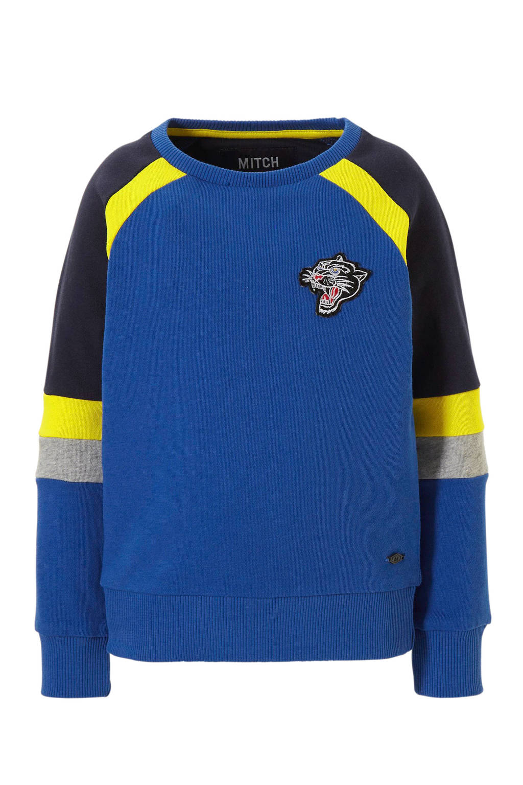 Mitch sweater Lavell met colourblocking, Blauw
