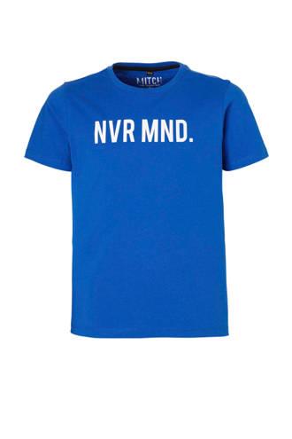 T-shirt Jarell met tekst blauw