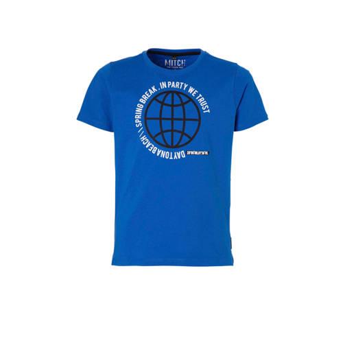 Mitch T-shirt Jaco met printopdruk blauw kopen
